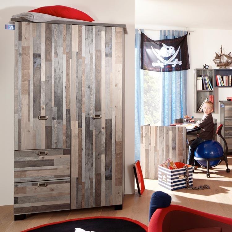home24, captn-sharky, jongensbed, kinderkamers, kledingkast voor jongens, steigerhout look
