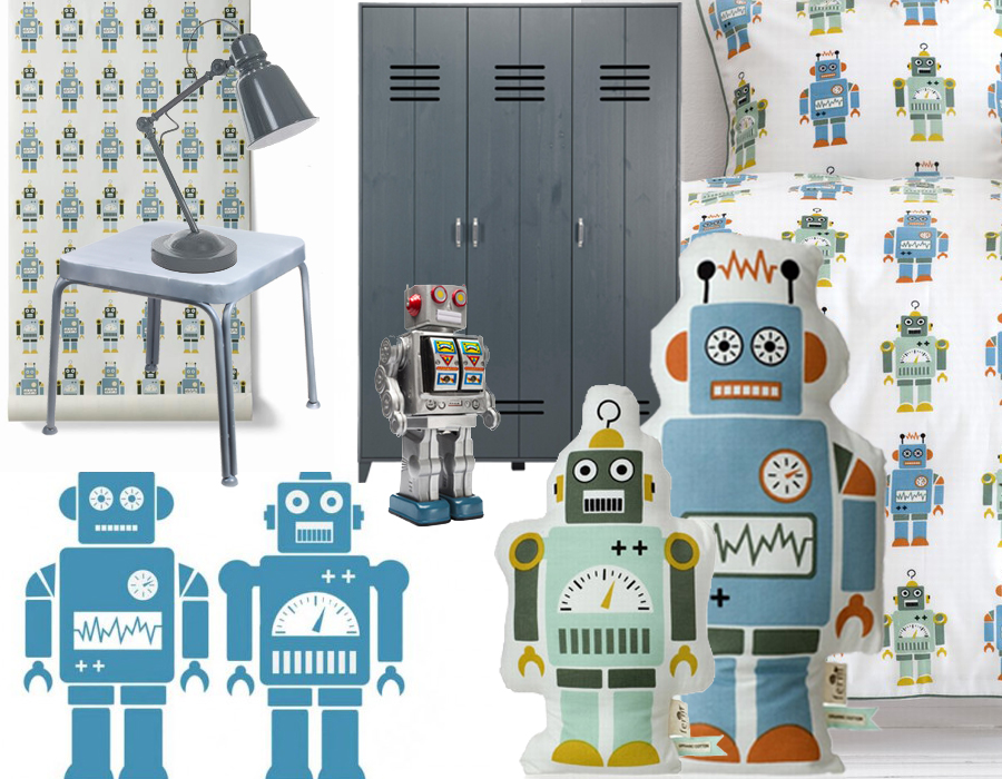 robotokamer, jongenskamer inspiratie, tips voor jongenskamer inrichting, ferm living robots, inrichting jongenskamer