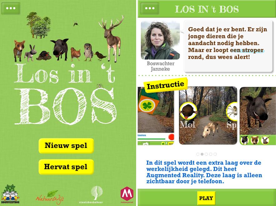 Los in het bos app, los in het bos, gamen in de natuur