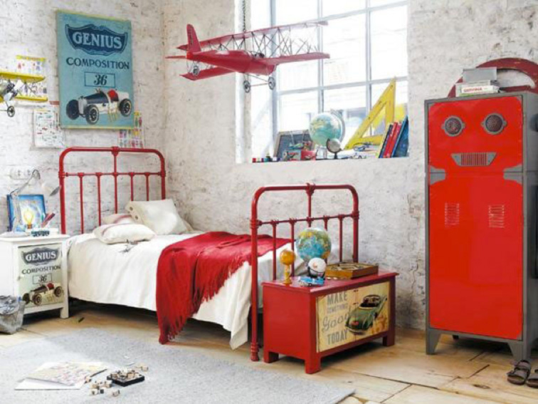 Behang Kinderkamer Vliegtuigen : Kinderkamerinspiratie Pilotenkamer l ...