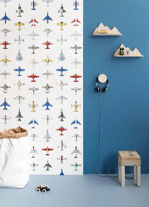 vliegtuig behang, vliegtuigkamer, jongenskamer