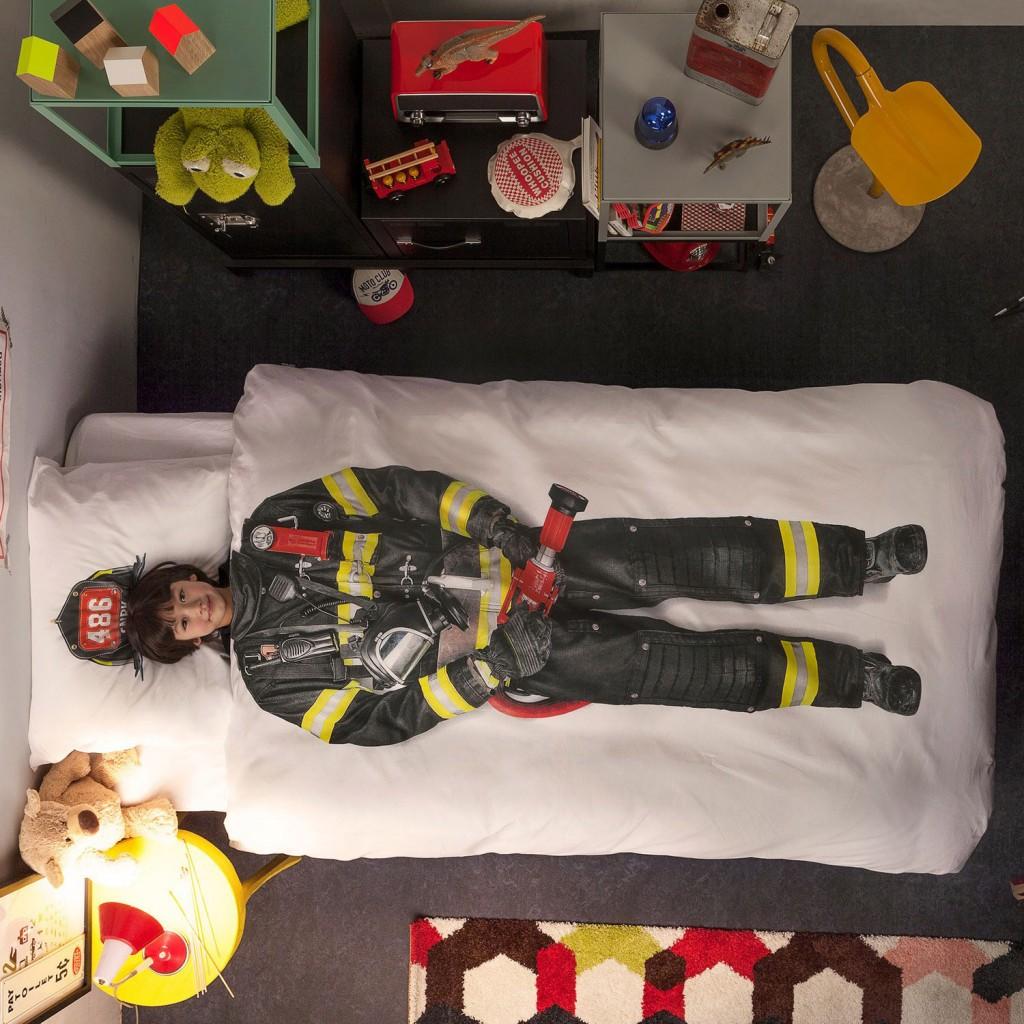 Snurk beddengoed, snurk brandweerman, brandweer dekbedovertrek, brandweerkamer, jongenskamer inspiratie