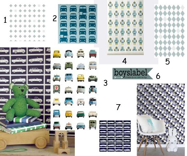 Blauw behang kinderkamer l blauw op de muur - Blauwe en grijze jongens kamer ...