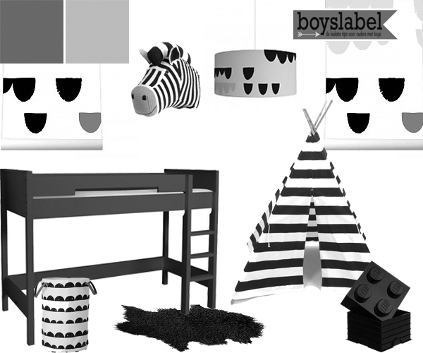 Behang Babykamer Zwart Wit : Black & white kinderkamer, zwart wit ...