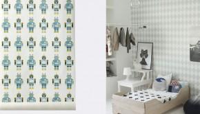 ferm living robot behang, Behang Blauw tinten, kinderkamer behang, jongenskamer behang, autobehang, jongensbehang, jongenskamer voorbeelden, kinderkamer styling