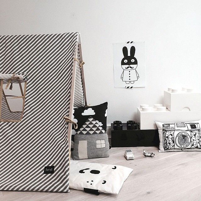 Black white l zwart wit kinderkamer styling for Deco de chambre noir et blanc
