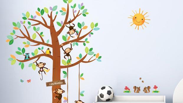 vrolijke muurstickers aapjes op de kinderkamer, Deco ideeën