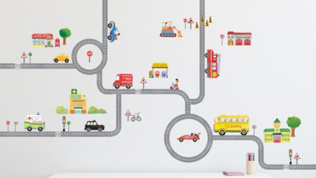 Cars Muurstickers Kinderkamer.Muursticker Autoweg Road And Cars Decowall