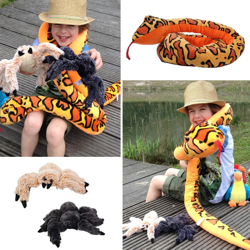plucheknuffel, jungle knuffels, dierenknuffels, pluche slange, pluche spinnen, knuffel spinnen, lange knuffel slang,