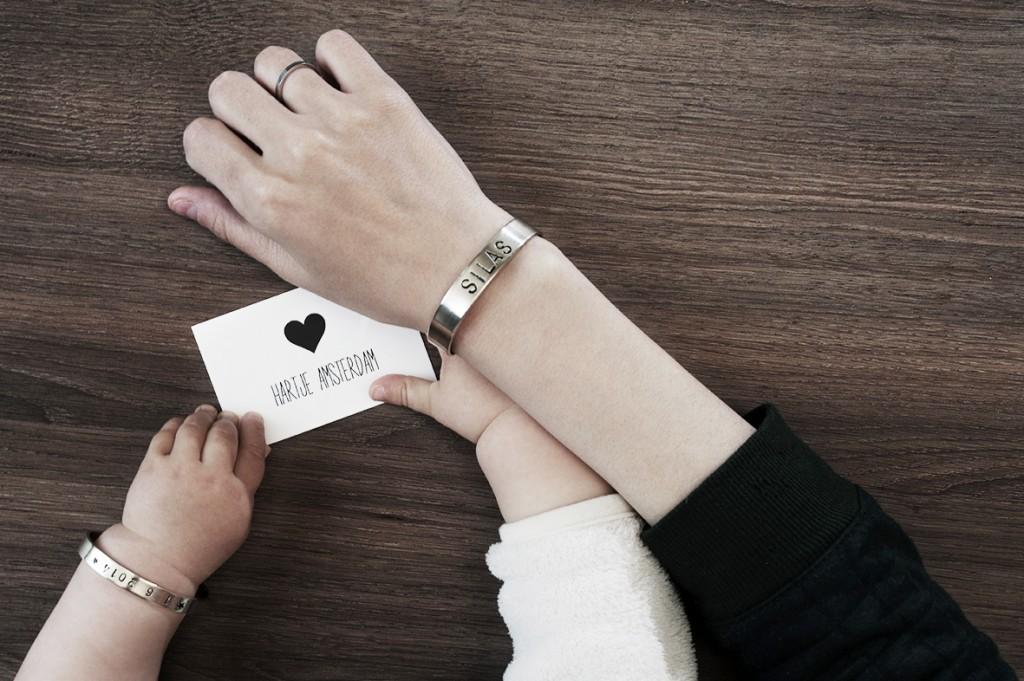 Hartje Amsterdam armbanden, gepersonaliseerde arbanden, moeder zoon armband, moeder dochter armbanden