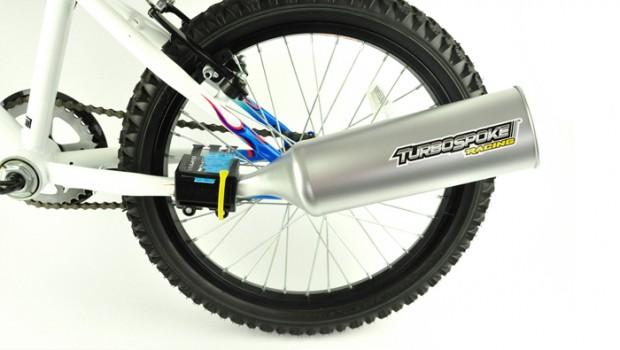 Turbospoke, fietsaccessoire voor stoere jongens, turbospoke uitlaatsysteem