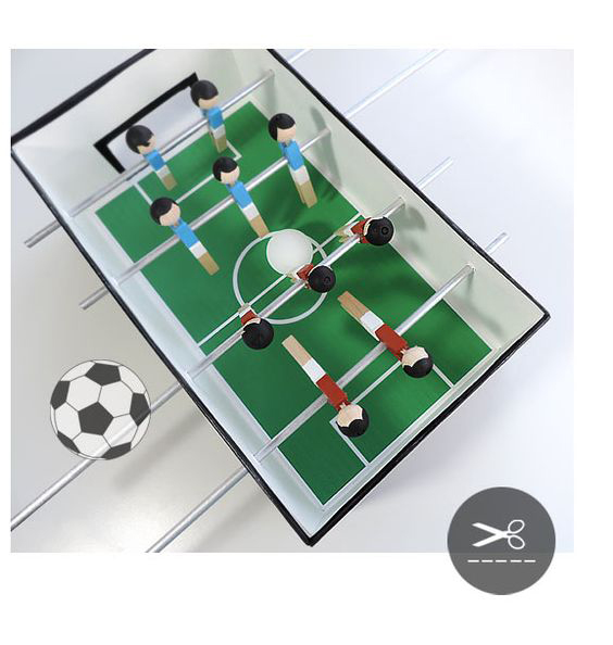 DIY speelgoed van karton, carboard DIY, voetbaltafel van karton
