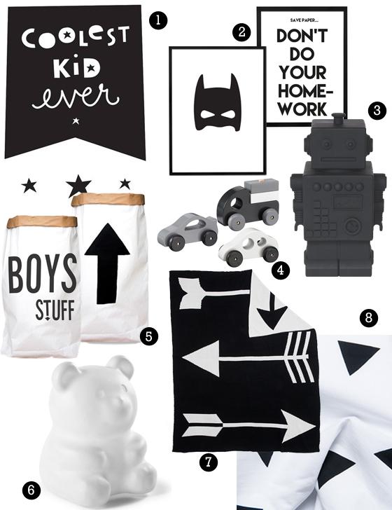 Zwart wit jongenskamer inspiratie boyslabel - Trend schilderij slaapkamer ...