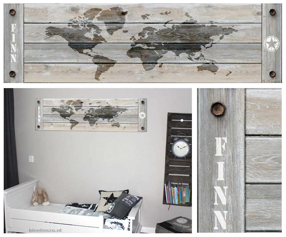 wereldkaart muursticker, landkaart kinderkamer, muursticker jongenskamer