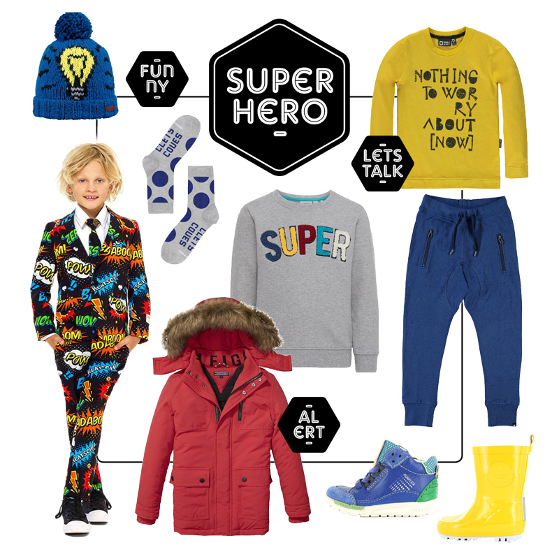 Get the look jongens kleding, super hero, boysfashion