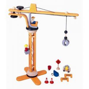 houten hijskraan, speelgoed, jongenscadeau, sintkadootjes