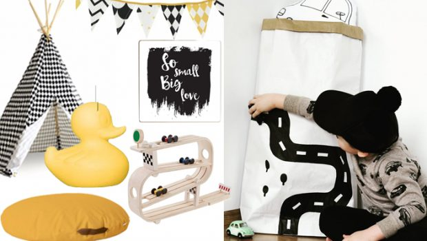 Jongens slaapkamer met zwart wit en een vleugje geel boyslabel