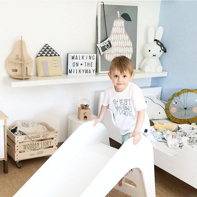 houten glijbaan, glijbaan voor in huis