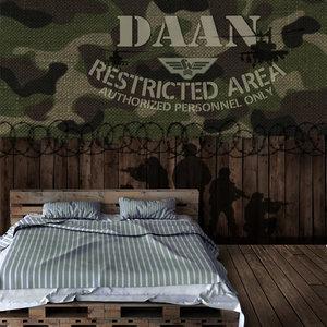 camouflage behang met naam, legerbehang, legerkamer, jongenskamer