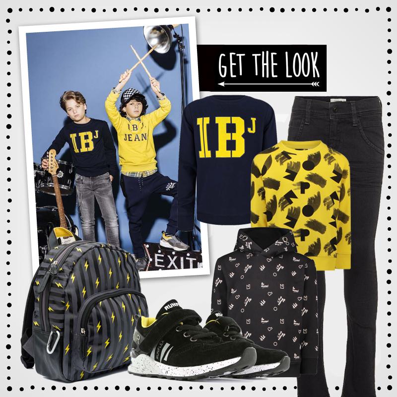 Back to School outfits , get the look jongens kleding, kinderkleding winter 2018-2019, zwart geel kinderkleding, zwarte jongenskleding