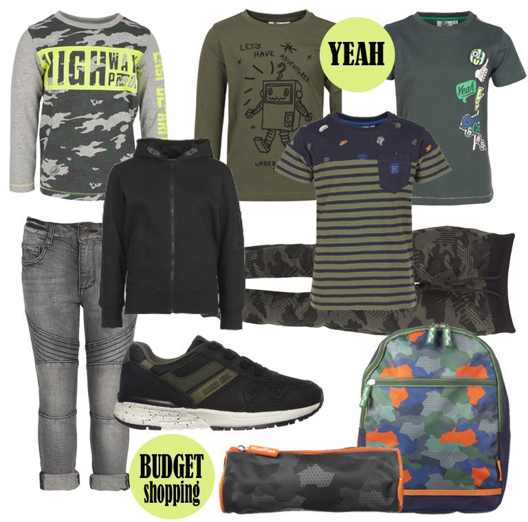 Back to school, stoere jongenskleding, goedkope jongenskleding, goedkope jongensschoenen, eerste school kleding