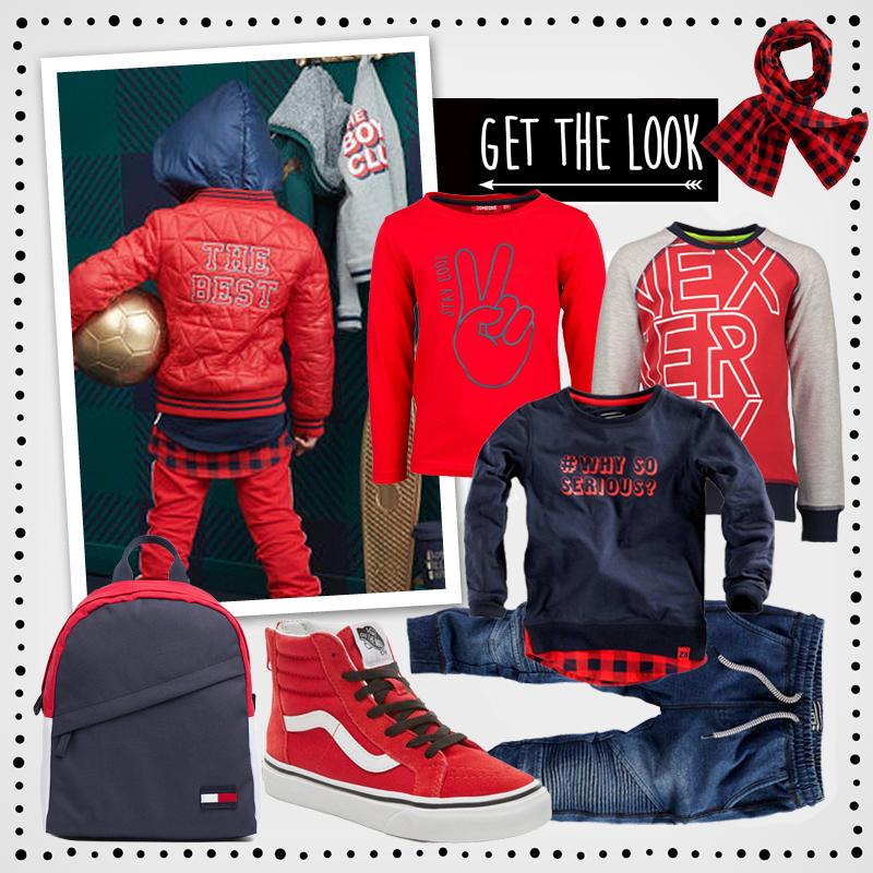 rode jongenskleding, rood en blauw, rode vans, back to school outfits voor jongens, rode kinderkleding