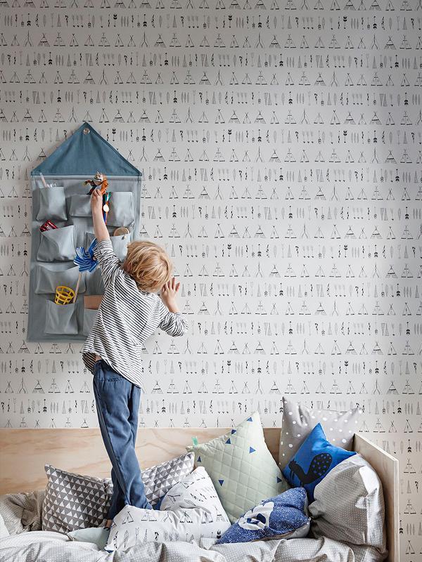 Ferm living behang, jongenskamer, indianen kamer