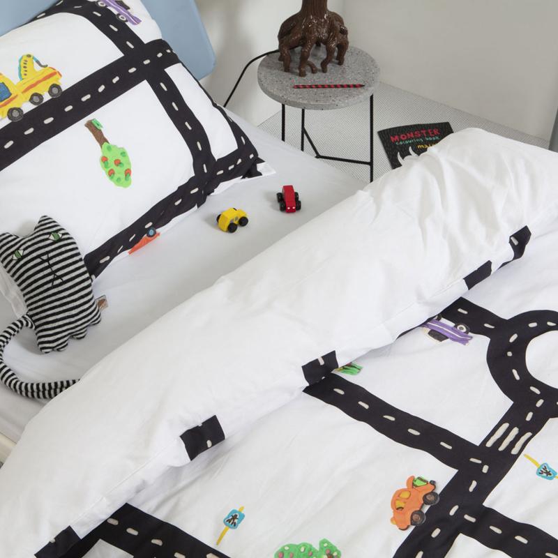 autokamer, snurk beddengoed, autobaan dekbedovertrek
