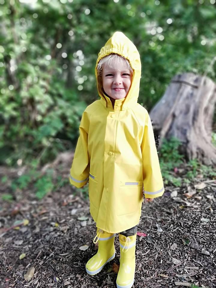 gele regenkleding, regenkleding kind, kinder regenjas