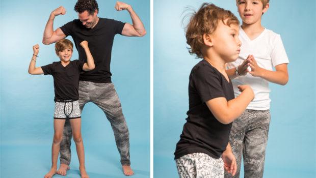 kinder boxershorts, claesens kinderondergoed, twinning vader zoon