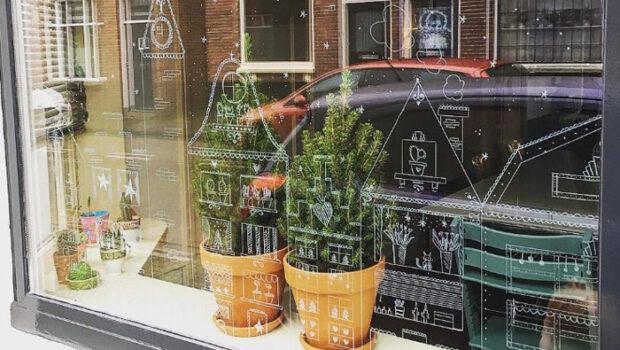 creatief met raamstiften, raamstiften, tekenen op de ramen