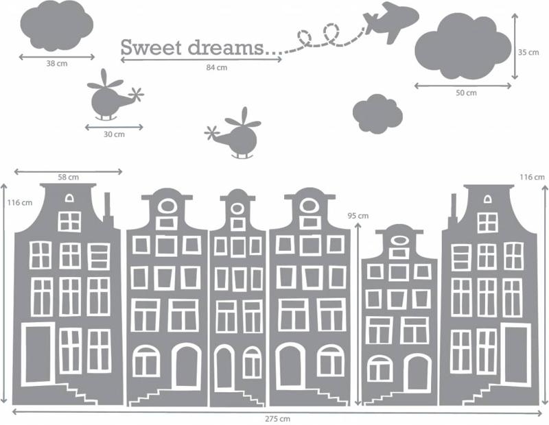 Grachtenhuis muurstickers, Grachtenhuisjes stickers