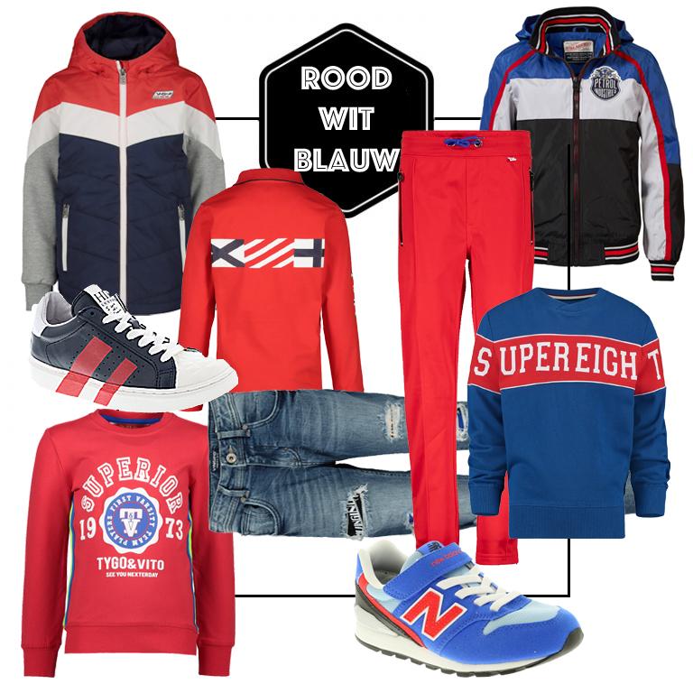 rood wit blauw kleding kind, rood wit blauwe kinderkleding, kleding voor jongens, styling tips