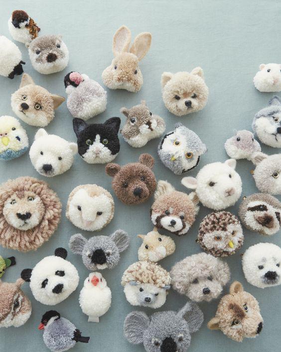 dierenkoppen maken, pompom dieren maken