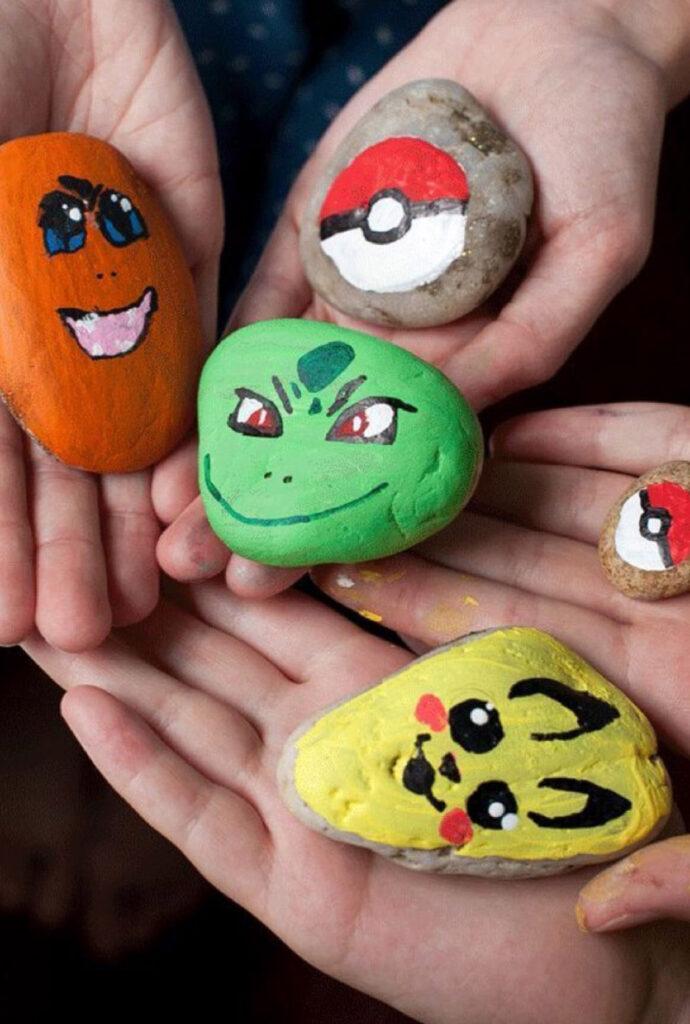 stenen verven, knutselen met je kind, robot knutselen, knutselen met steen