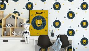 behang jongenskamers, hip kinderbehang, behang met leeuwen, jongenskamerstyling