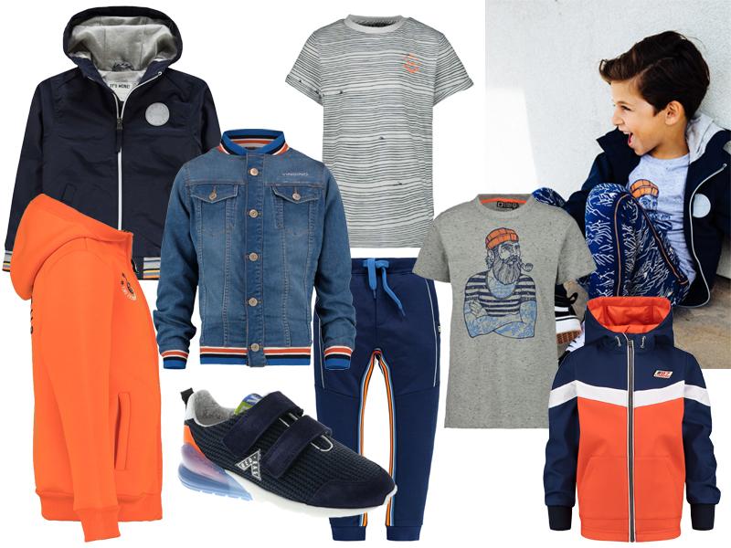blauwe jongensjas, blauwe zomerjas, blauw oranje jongenskleding, boys outfit of the day
