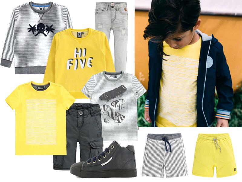 geel grijs jongenskleding, zomerkleding jongens, tumble n dry korting, tumble n dry kinderkleding, boyslabel, boyslook