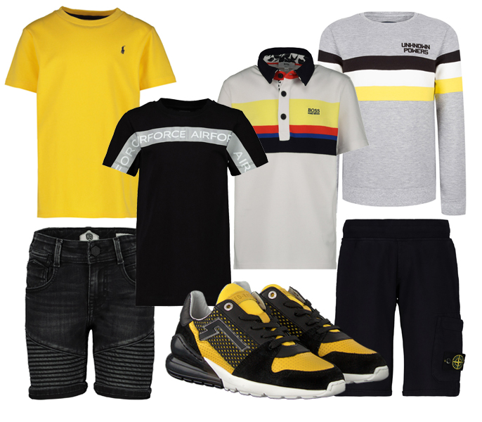 geel zwart kinderkleding, redrag sneakers, indian blue jeans, stone island kinderkleding, tienerkleding jongens