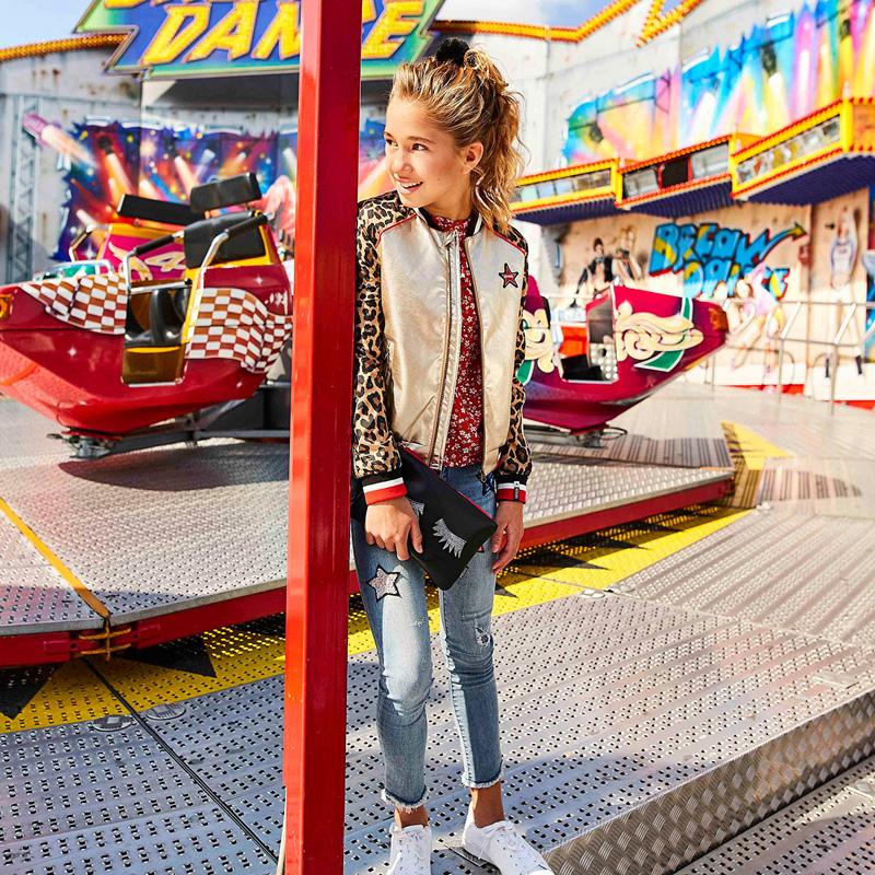 hippe kinderjas, kinderjassen meisjes, retour jeans jas, dierenprint jasje