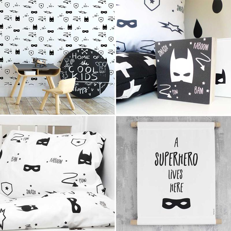 stoer jongensbehang, superhelden behang, kinderkamerbehang, behang voor jongenskamers, superhero kamer, superhelden kamer