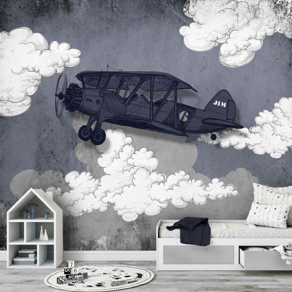 vliegtuigbehang, jongensbehang, behang met vliegtuig
