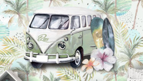 retro behang, surfing sfeer behang, fotobehang, volkswagen bus behang, jongens behang met naam, kinderbehang
