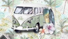 retro behang, surfing sfeer behang, fotobehang, volkswagen bus behang, jongens behang met naam, kinderbehang