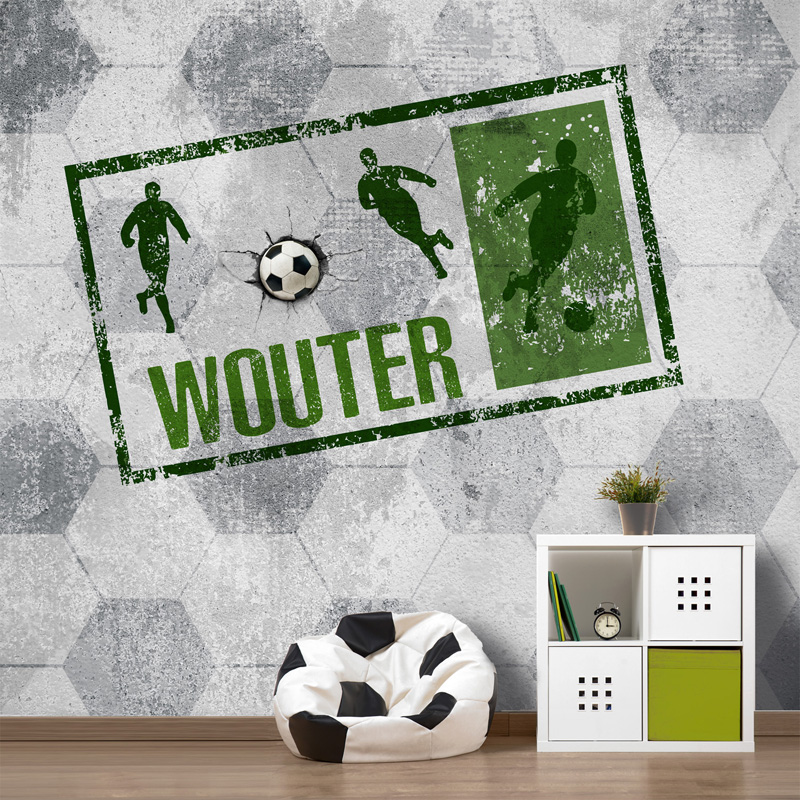 voetbal behang, jongens behang met naam, voetbal kamer