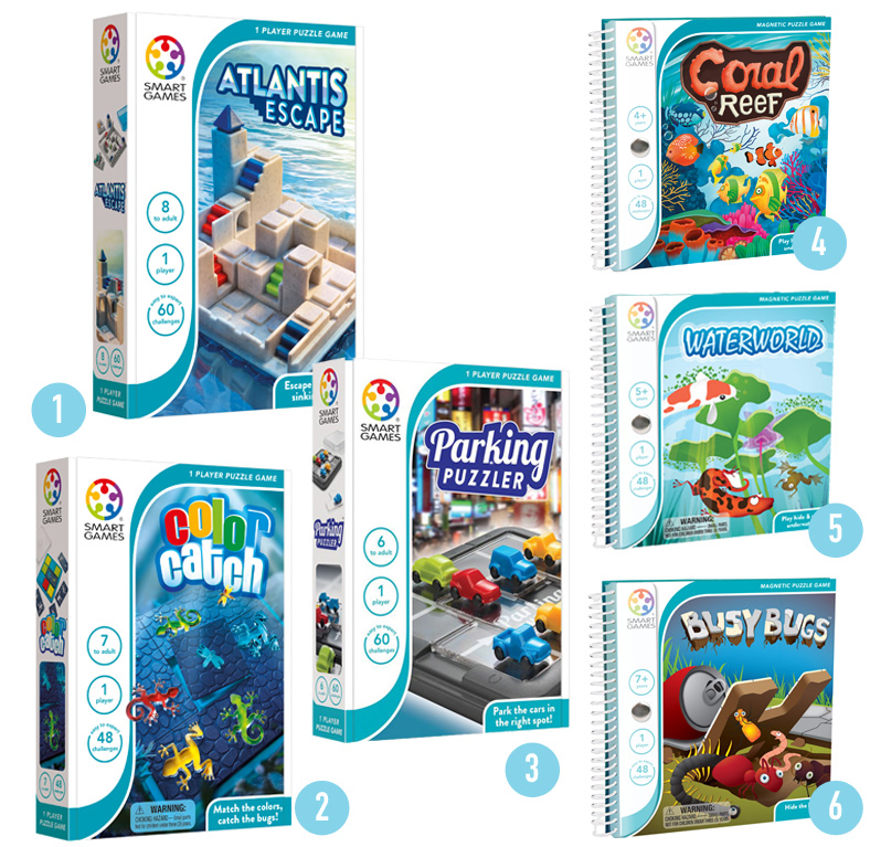SMARTGAMES, vakantiespellen, spellen voor onderweg, magnetische spellen