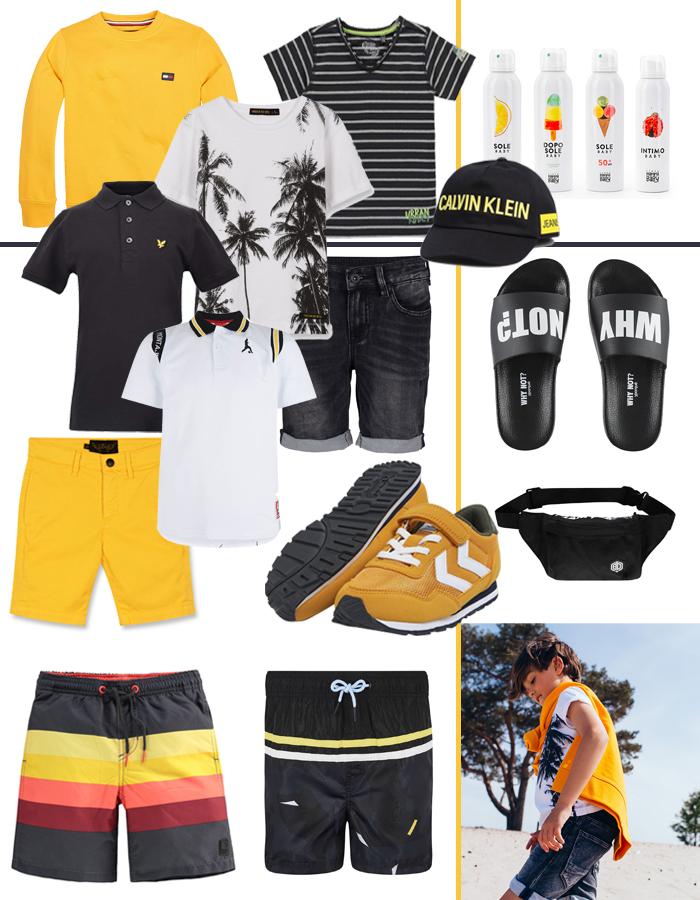 kids vakantie must haves, vakantiekleding jongens, jongenskleding, zwart geel kleding, zomerkleding jongen
