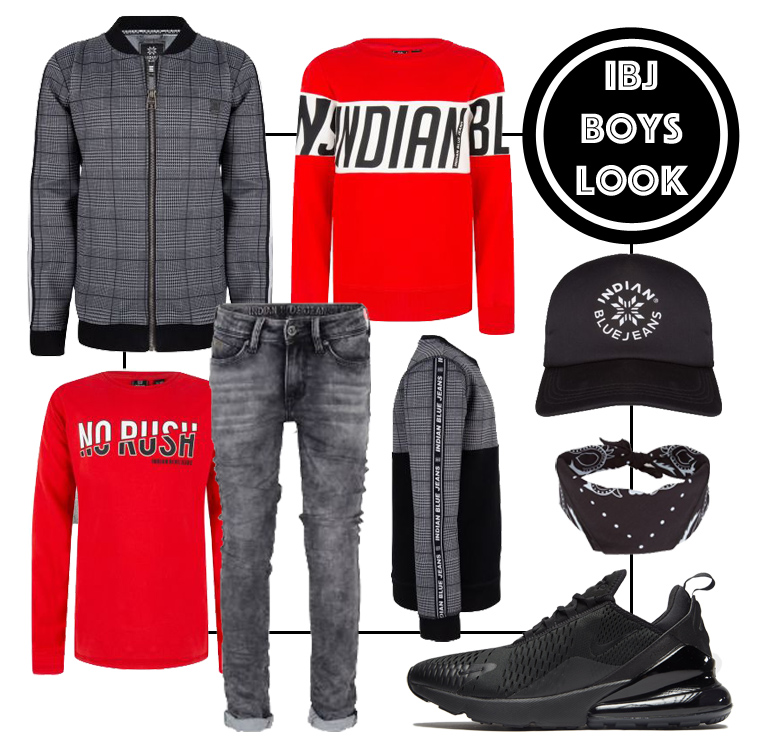 Indian Blue Jeans winter 2019-2020, shop the look boys, hippe jongenskleding, tienerkleding, grijs rood, nike air max dia, zwarte nike sneakers, boyslabel, shopping collages