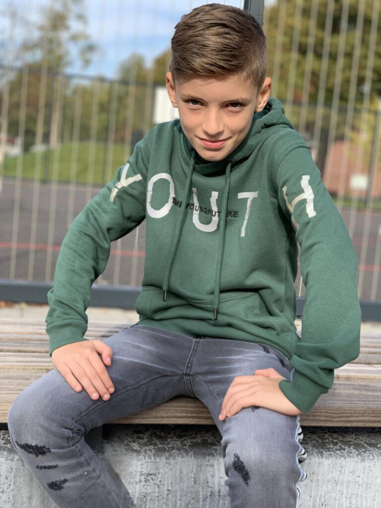 gabbiano boys, stoere jongenskleding, tienerkleding, groene hoodie voor jongens
