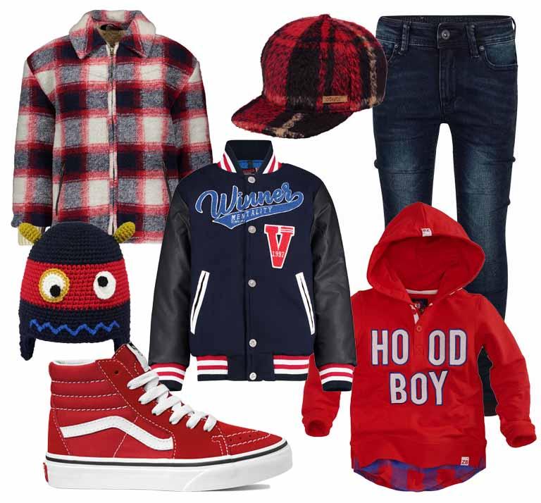 get the look jongens kleding, boyslabel, college style boys, rood blauw jongenskleding, rode vans sneakers